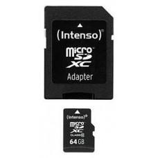 Intenso 3413490 Micro SD clase 10 64GB c/adapt