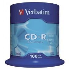 VERBATIM CD-R 700MB 52X BOBINA 100 DATALIFE (Espera 3 dias)