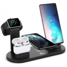 Base Cargador Inalámbrico + 4 Salidas Smartphone/Smartwatch  360º Negro