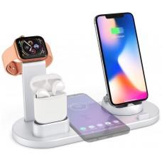 Base Cargador Inalámbrico + 4 Salidas Smartphone/Smartwatch 360º Plata