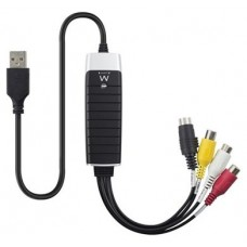 Ewent EW3706 USB 2.0 S-Video/Composite AV Negro, Gris, Rojo, Color blanco, Amarillo adaptador de cab
