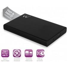 """CAJA EXT. HDD EWENT EW7044 2,5"""" SATA USB3.1 NEGRA"""